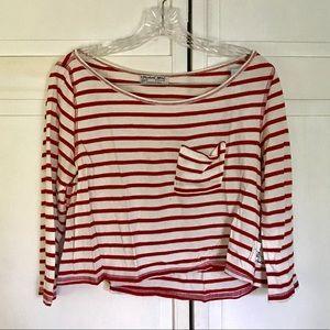 Michael Stars Cropped Striped Shirt